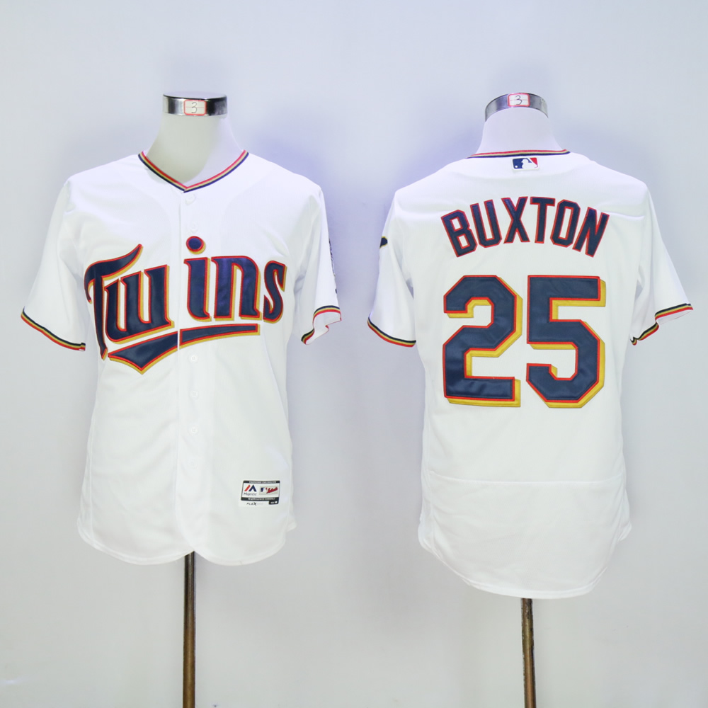 Men Minnesota Twins 25 Buxton White MLB Jerseys