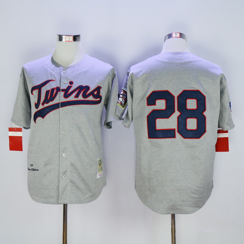 Men Minnesota Twins 28 Blyleven Grey Throwback 1969 MLB Jerseys