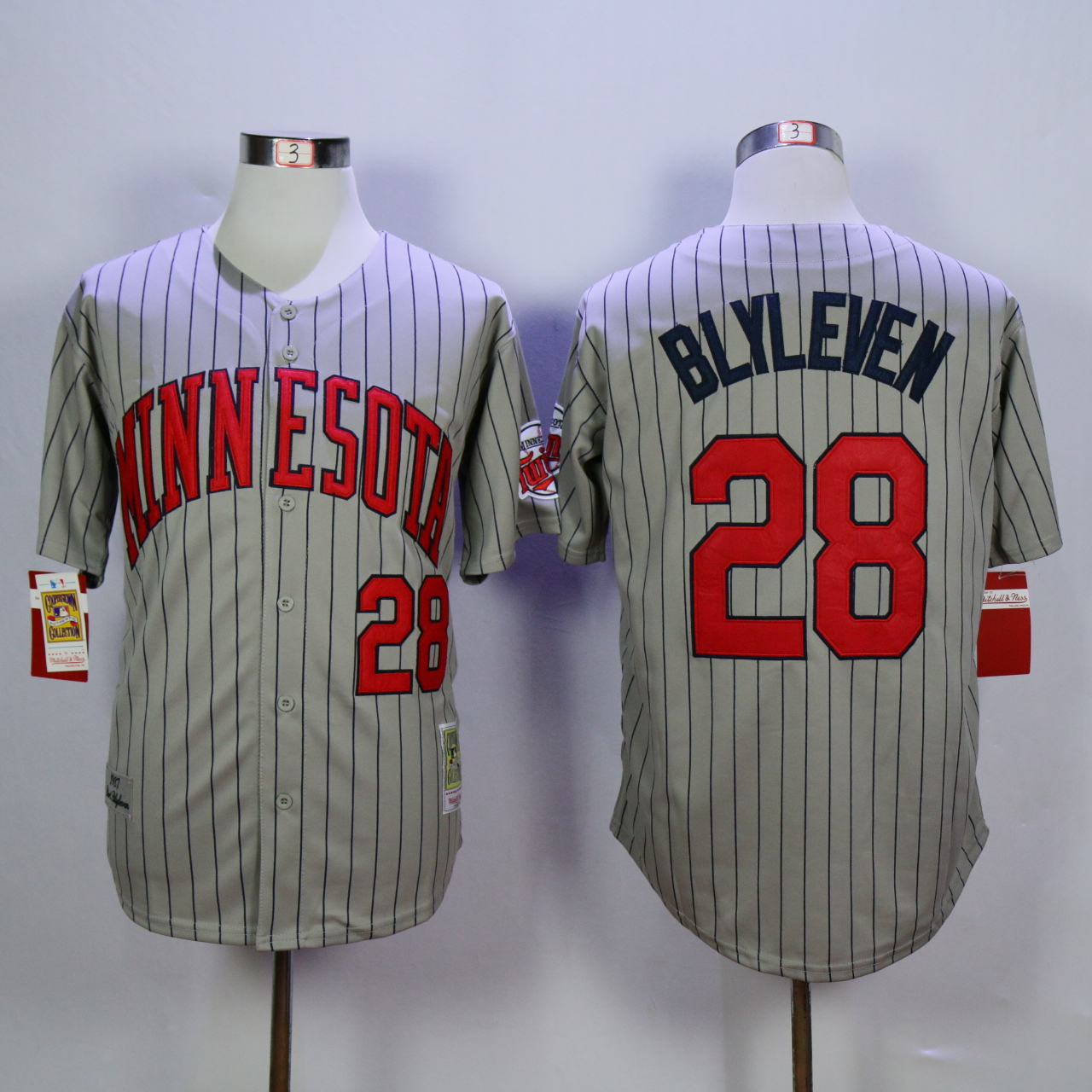 Men Minnesota Twins 28 Blyleven Grey Throwback 1987 MLB Jerseys