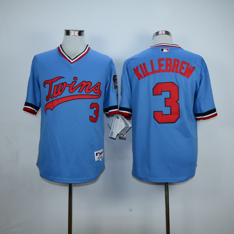 Men Minnesota Twins 3 Killebrew Blue Throwback MLB Jerseys