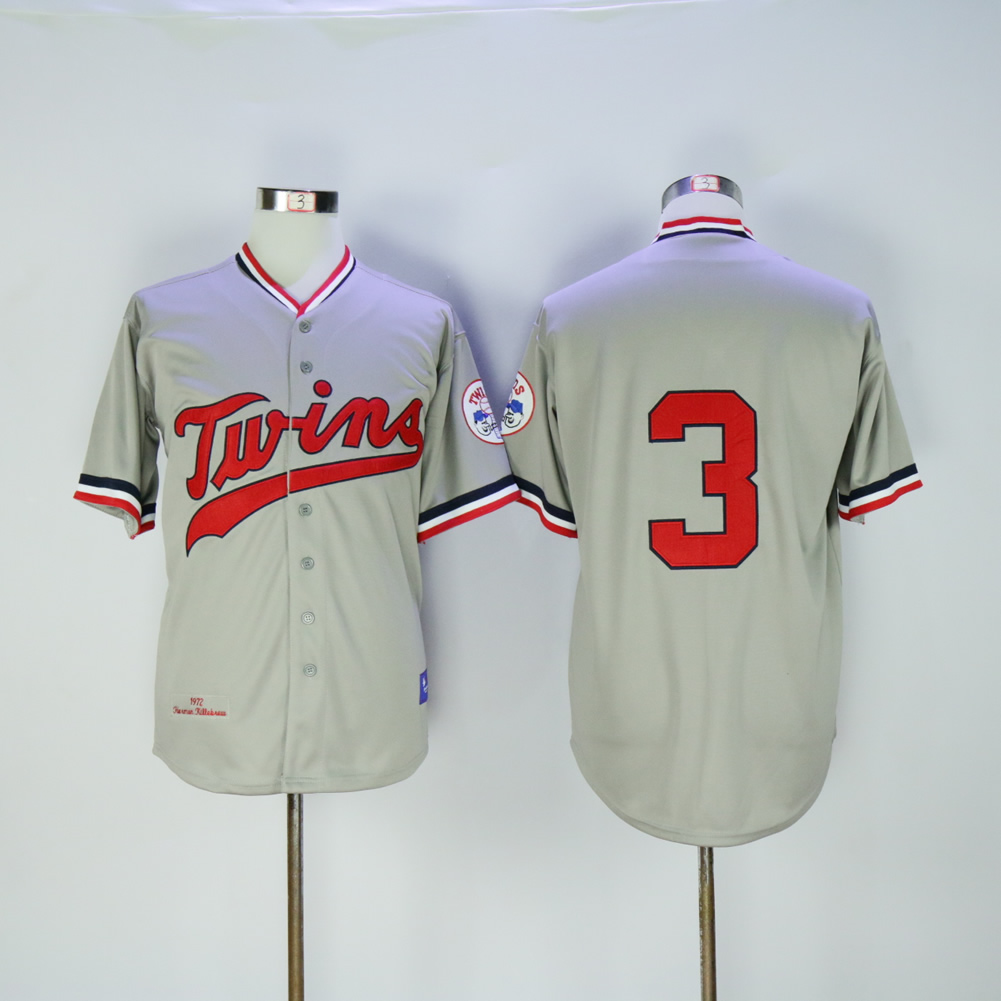 Men Minnesota Twins 3 Killebrew Grey Throwback 1972 MLB Jerseys