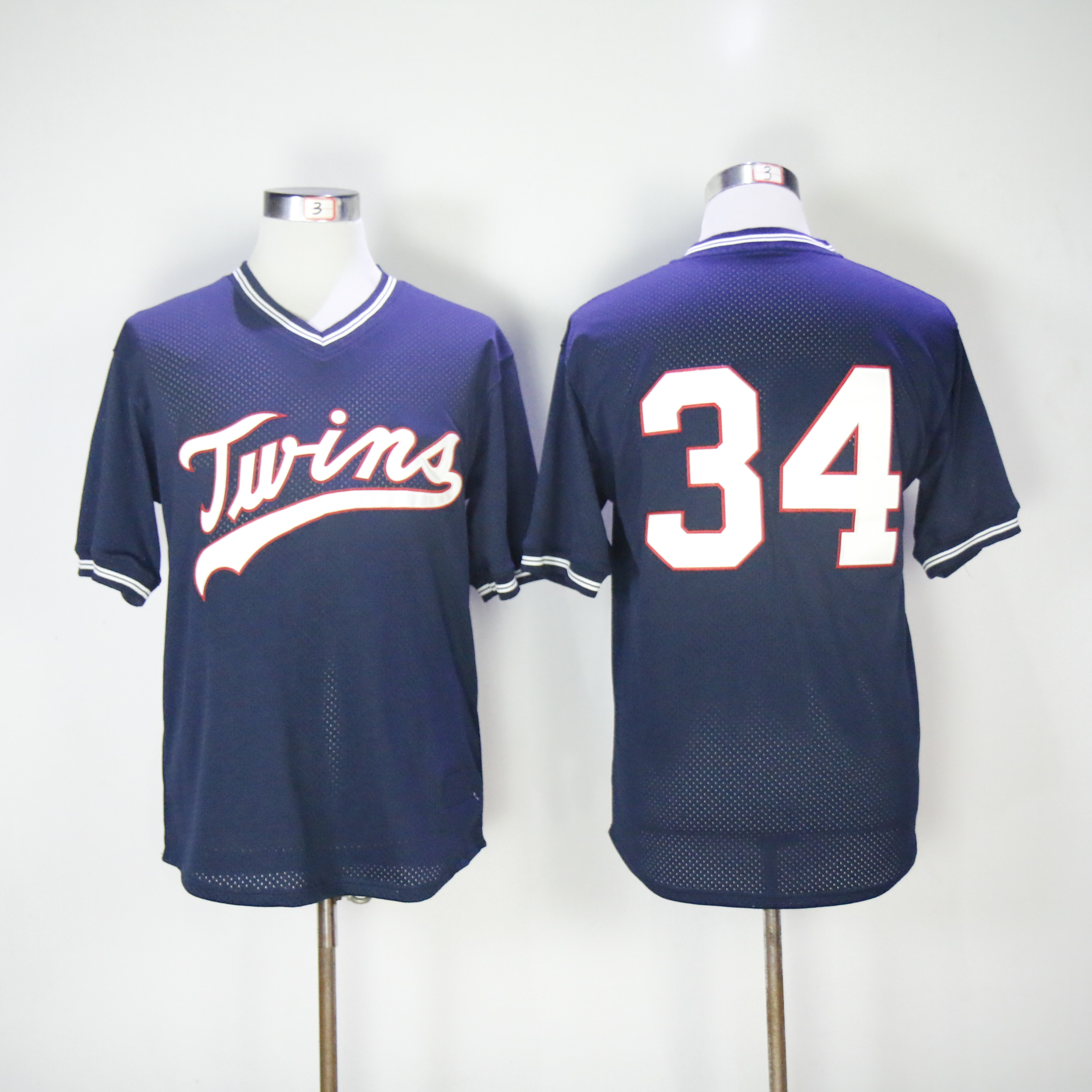 Men Minnesota Twins 34 Puckett Blue Throwback MLB Jerseys