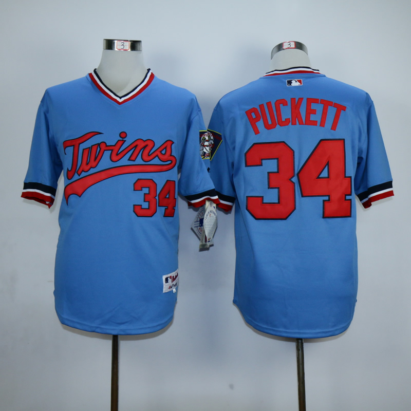 Men Minnesota Twins 34 Puckett Blue Throwback MLB Jerseys1
