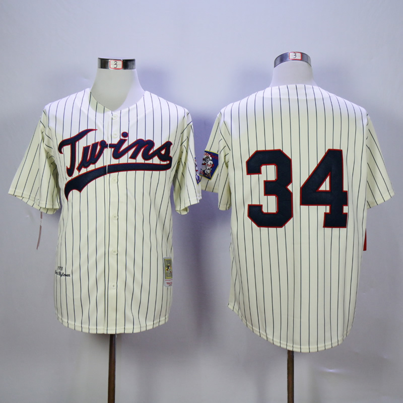 Men Minnesota Twins 34 Puckett Cream Throwback 1969 MLB Jerseys