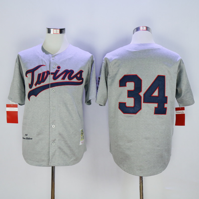 Men Minnesota Twins 34 Puckett Grey Throwback 1969 MLB Jerseys