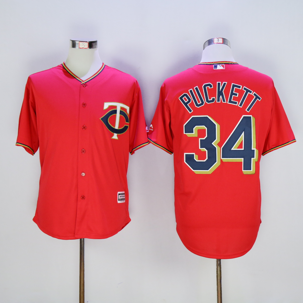 Men Minnesota Twins 34 Puckett Red MLB Jerseys