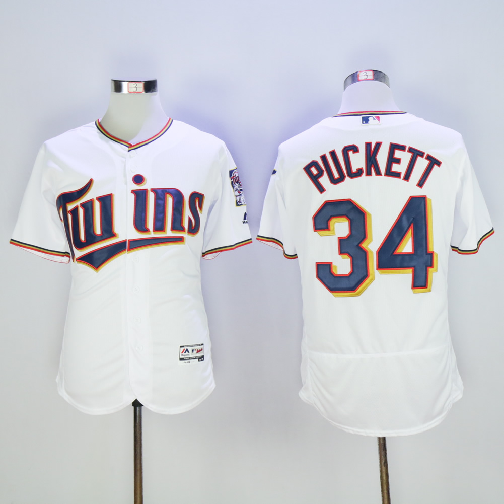 Men Minnesota Twins 34 Puckett White MLB Jerseys