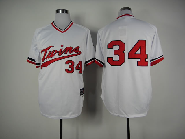 Men Minnesota Twins 34 Puckett Whtie Throwback MLB Jerseys