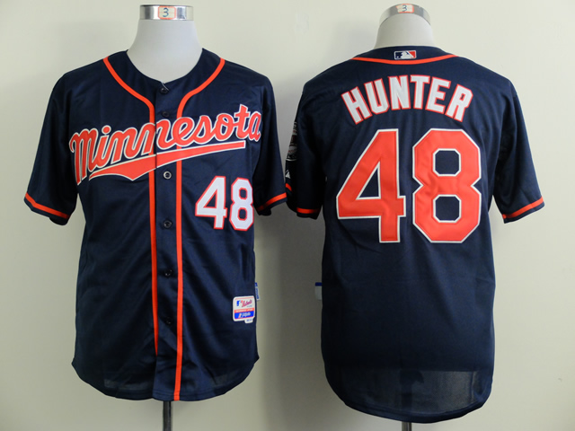 Men Minnesota Twins 48 Hunter Blue MLB Jerseys