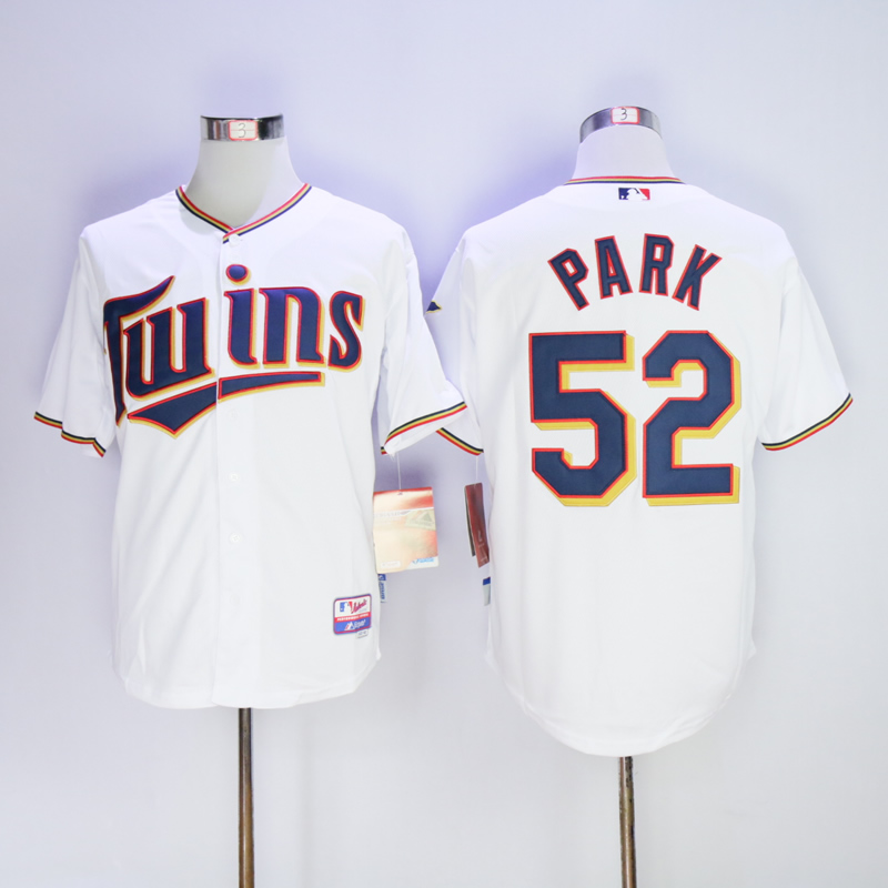 Men Minnesota Twins 52 Park White MLB Jerseys
