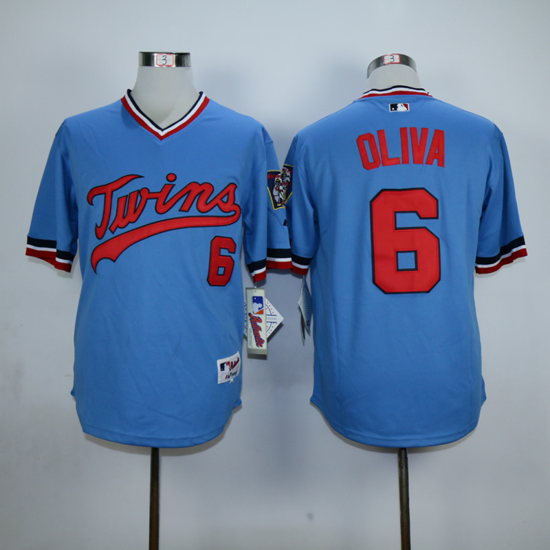 Men Minnesota Twins 6 Oliva Blue Throwback MLB Jerseys