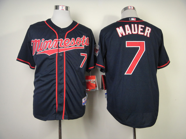 Men Minnesota Twins 7 Mauer Blue MLB Jerseys