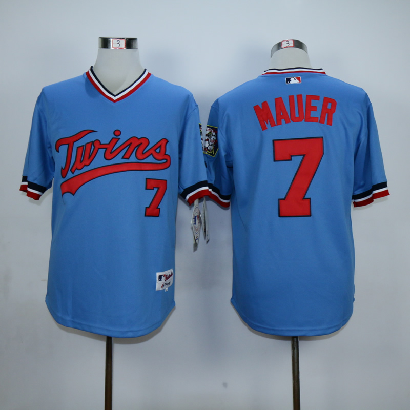 Men Minnesota Twins 7 Mauer Blue Throwback MLB Jerseys