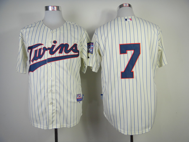Men Minnesota Twins 7 Mauer Cream MLB Jerseys