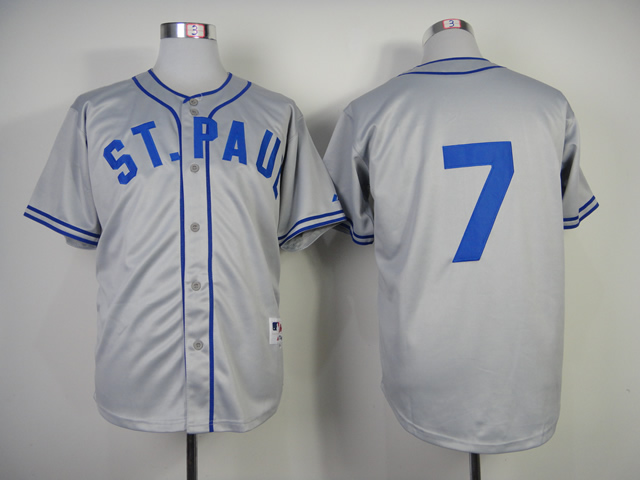 Men Minnesota Twins 7 Mauer Grey Throwback 1948 MLB Jerseys