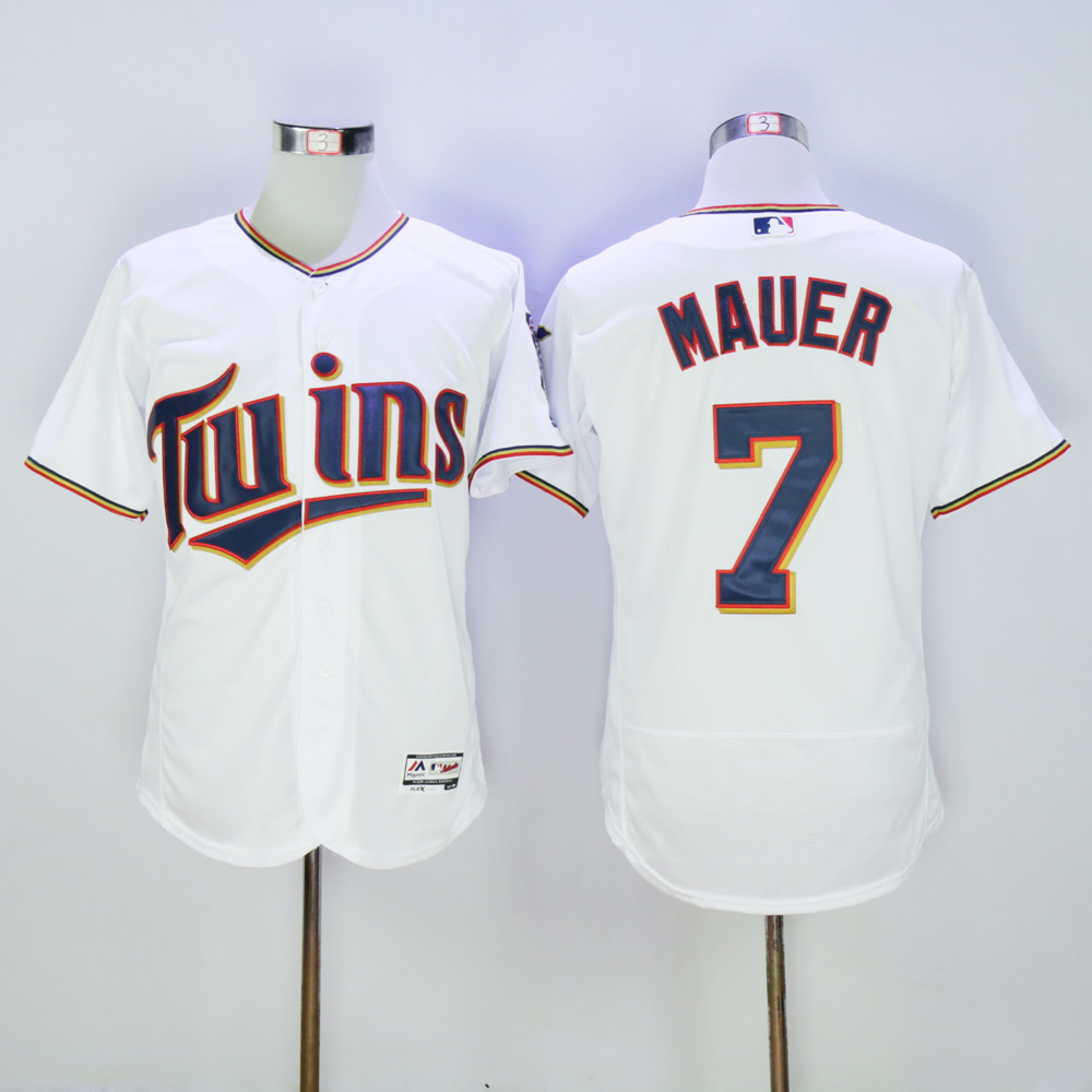 Men Minnesota Twins 7 Mauer White MLB Jerseys