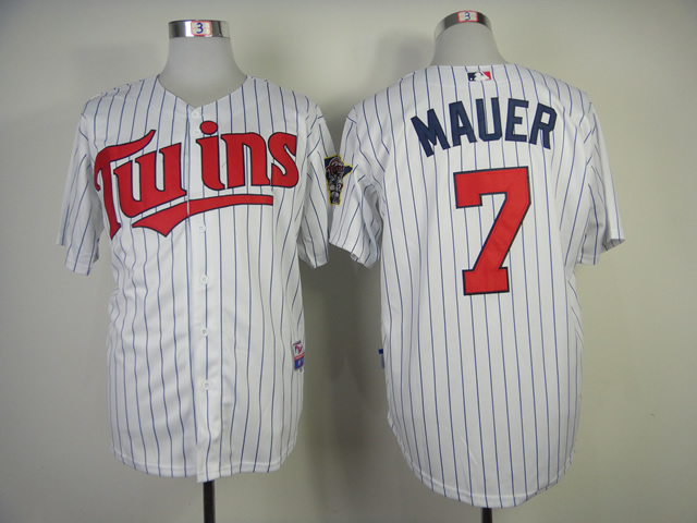 Men Minnesota Twins 7 Mauer White Stripe MLB Jerseys
