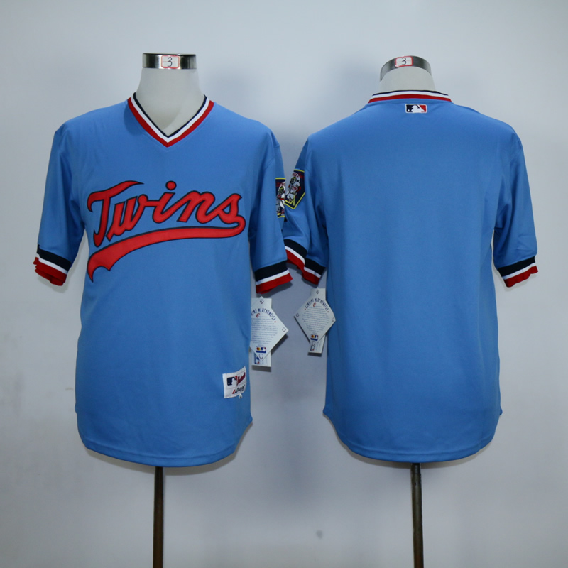 Men Minnesota Twins Blank Blue Throwback MLB Jerseys