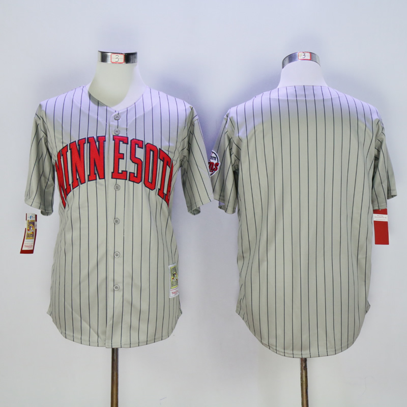 Men Minnesota Twins Blank Grey Stripe Throwback MLB Jerseys