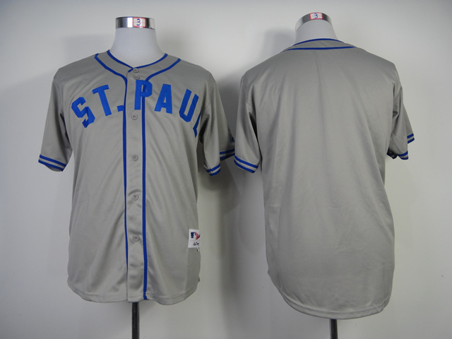Men Minnesota Twins Blank Grey Throwback MLB Jerseys