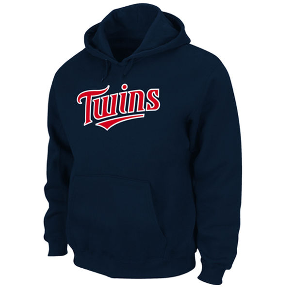 Men Minnesota Twins Majestic .300 Hitter Hooded Fleece Navy