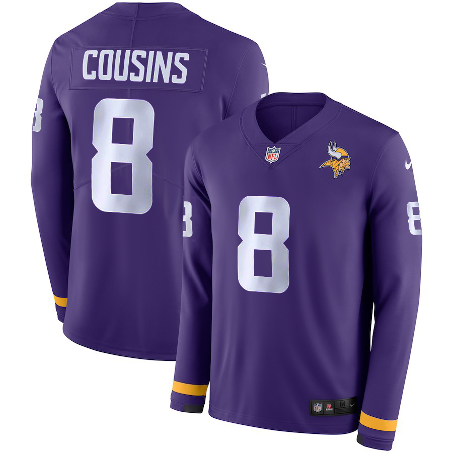 Men Minnesota Vikings 8 Cousins purple Limited NFL Nike Therma Long Sleeve Jersey