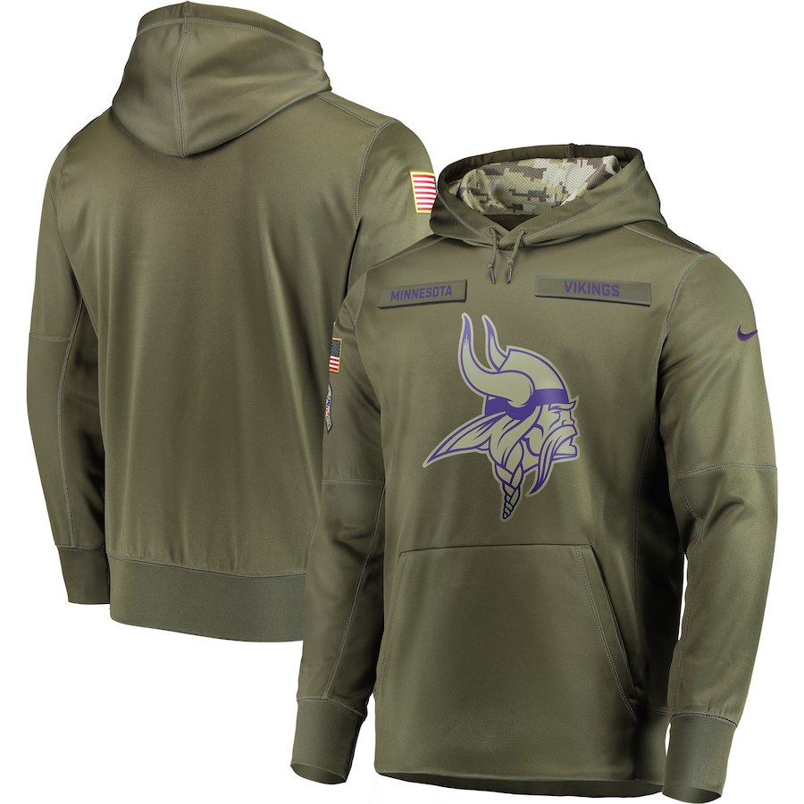 Men Minnesota Vikings Nike Olive Salute To Service KO Performance Hoodie Green