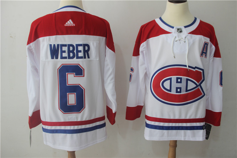 Men Montreal Canadiens 6 Weber white Adidas Stitched NHL Jerseys