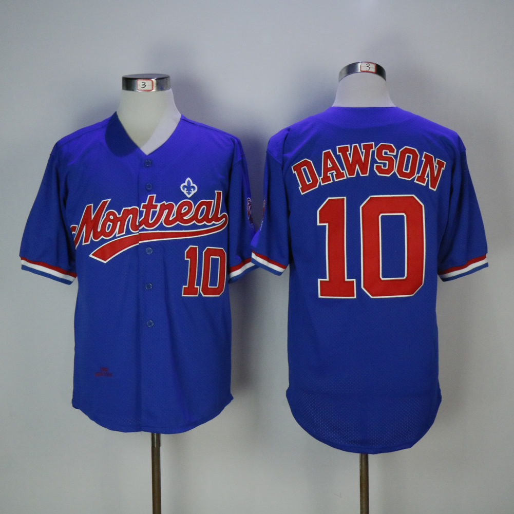 Men Montreal Expos 10 Dawson Blue Throwback MLB Jerseys