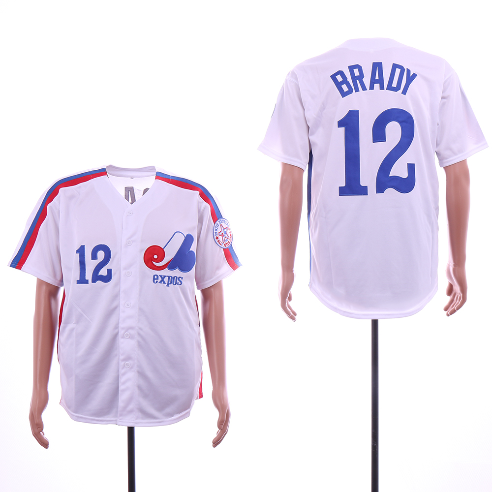 Men Montreal Expos 12 Brady White Throwback MLB Jerseys