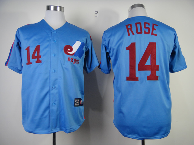 Men Montreal Expos 14 Rose Blue MLB Jerseys