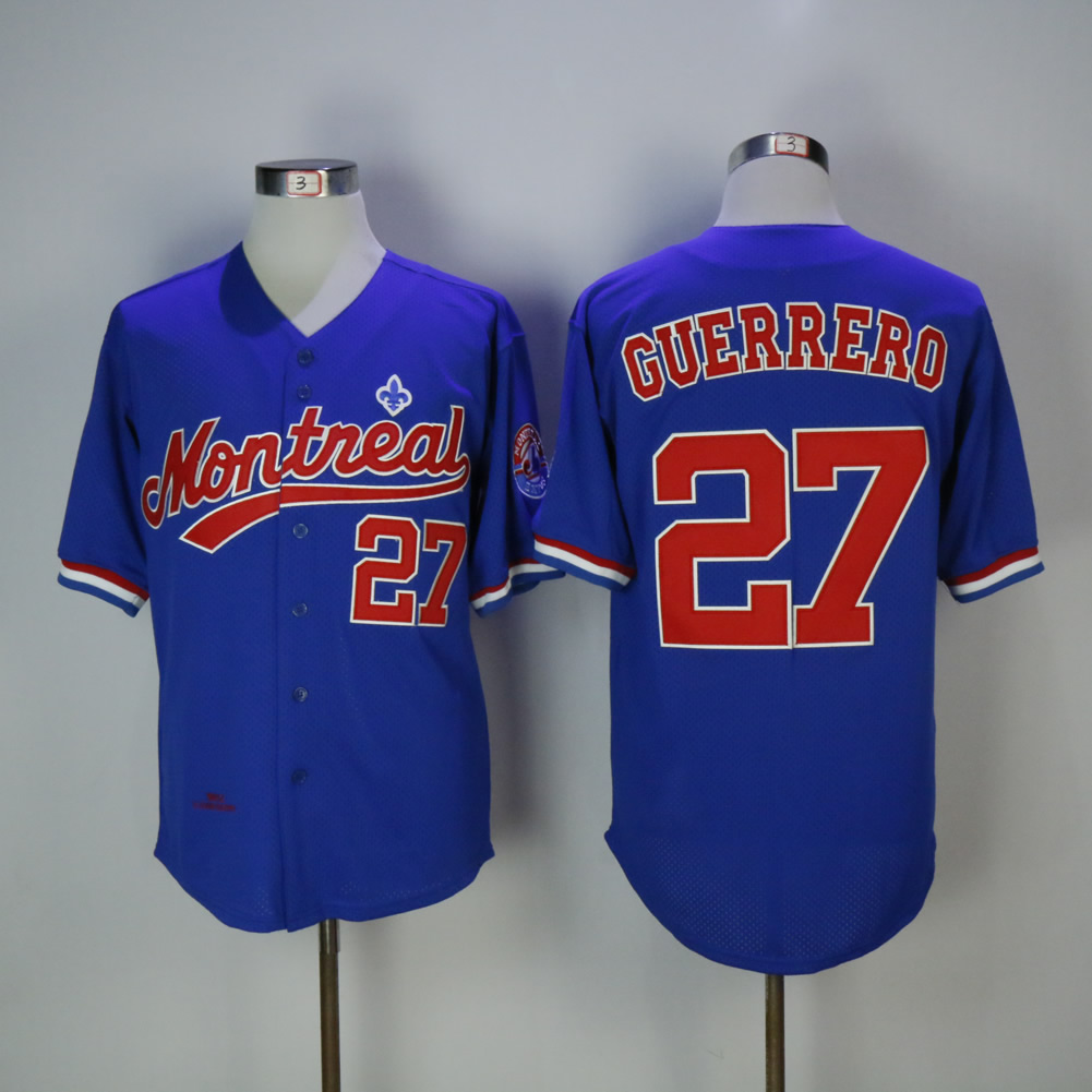 Men Montreal Expos 27 Guerrero Blue MLB Jerseys