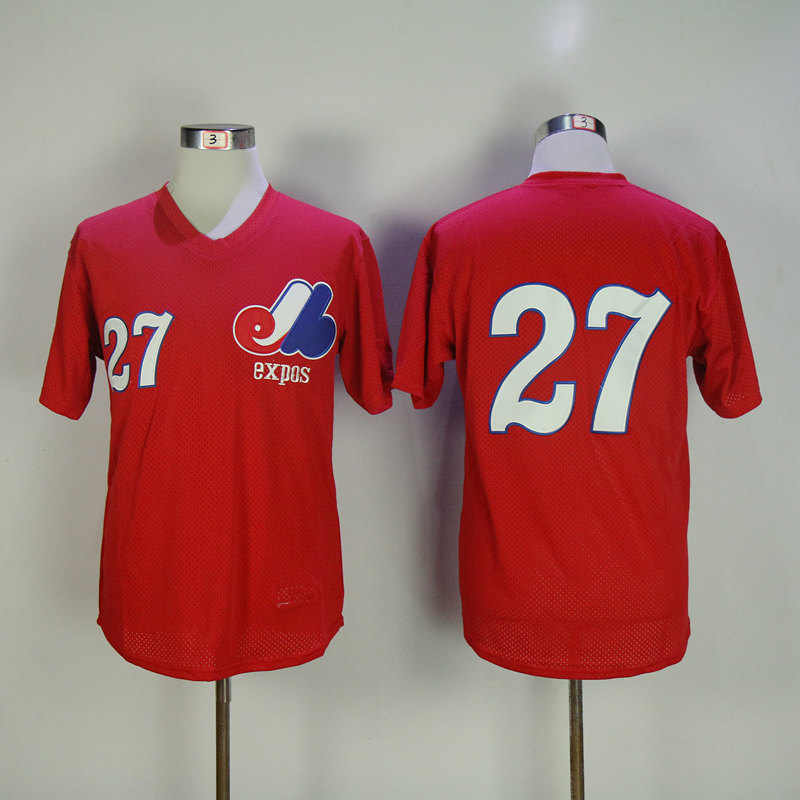 Men Montreal Expos 27 Guerrero Red Throwback MLB Jerseys
