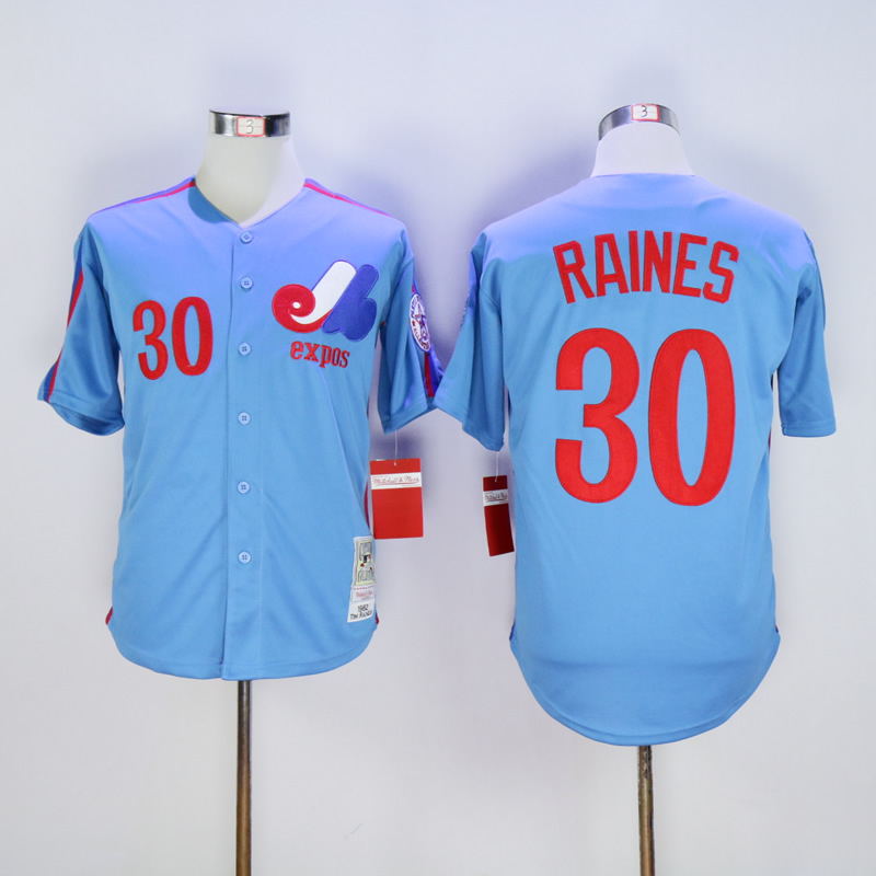 Men Montreal Expos 30 Raines Blue Throwback 1982 MLB Jerseys
