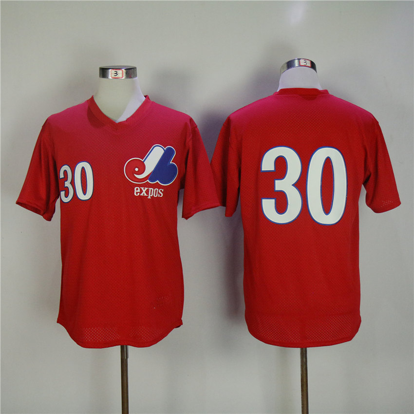 Men Montreal Expos 30 Raines Red Throwback 1982 MLB Jerseys