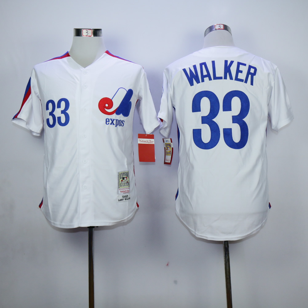 Men Montreal Expos 33 Walker White MLB Jerseys