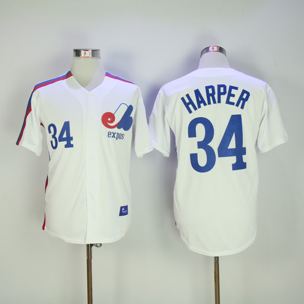 Men Montreal Expos 34 Harper White MLB Jerseys