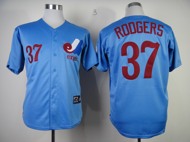 Men Montreal Expos 37 Roogers Blue MLB Jerseys