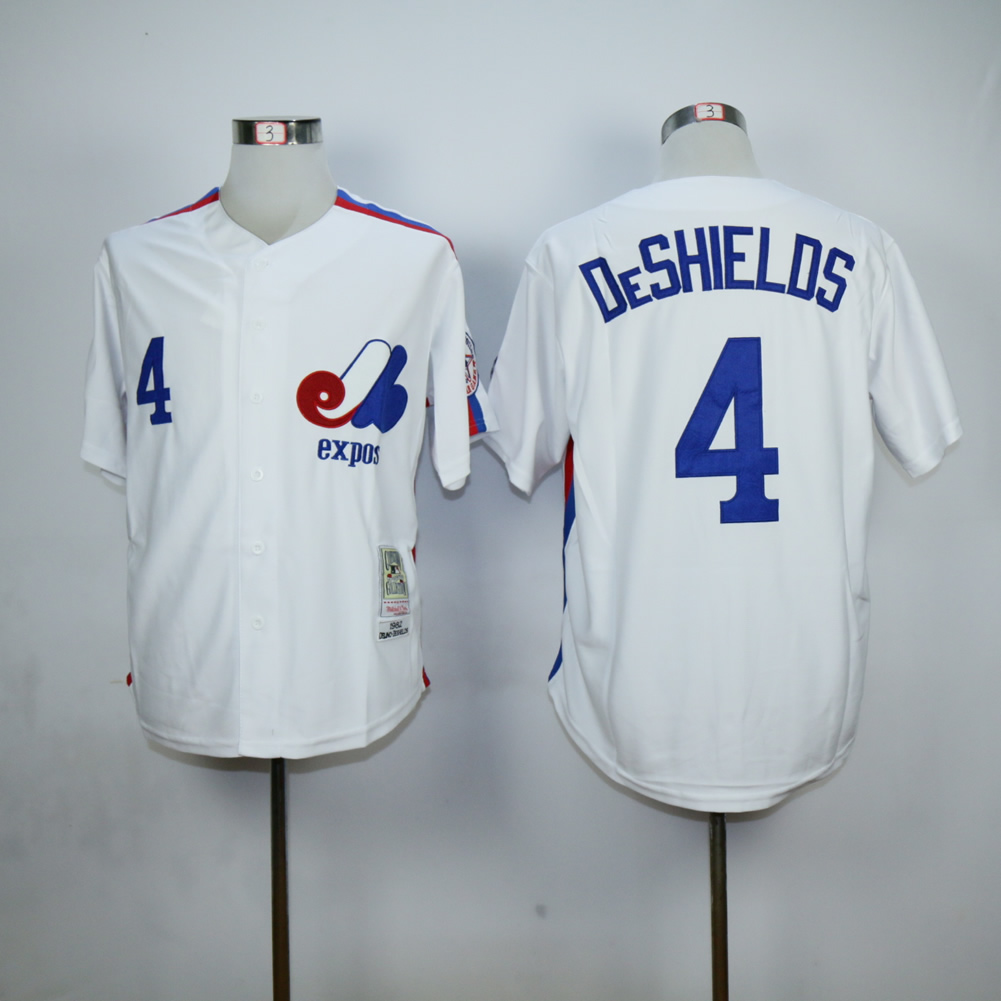 Men Montreal Expos 4 Deshielos White MLB Jerseys
