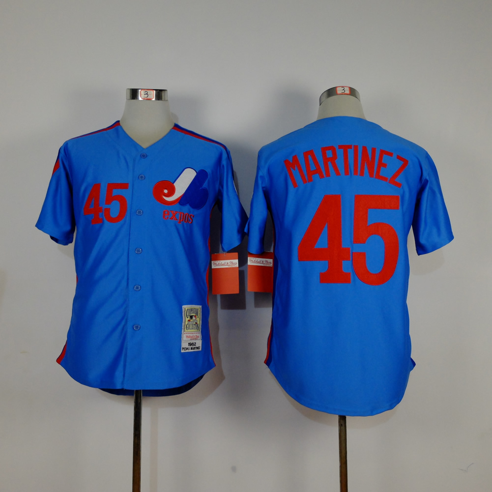 Men Montreal Expos 45 Martinez Blue MLB Jerseys