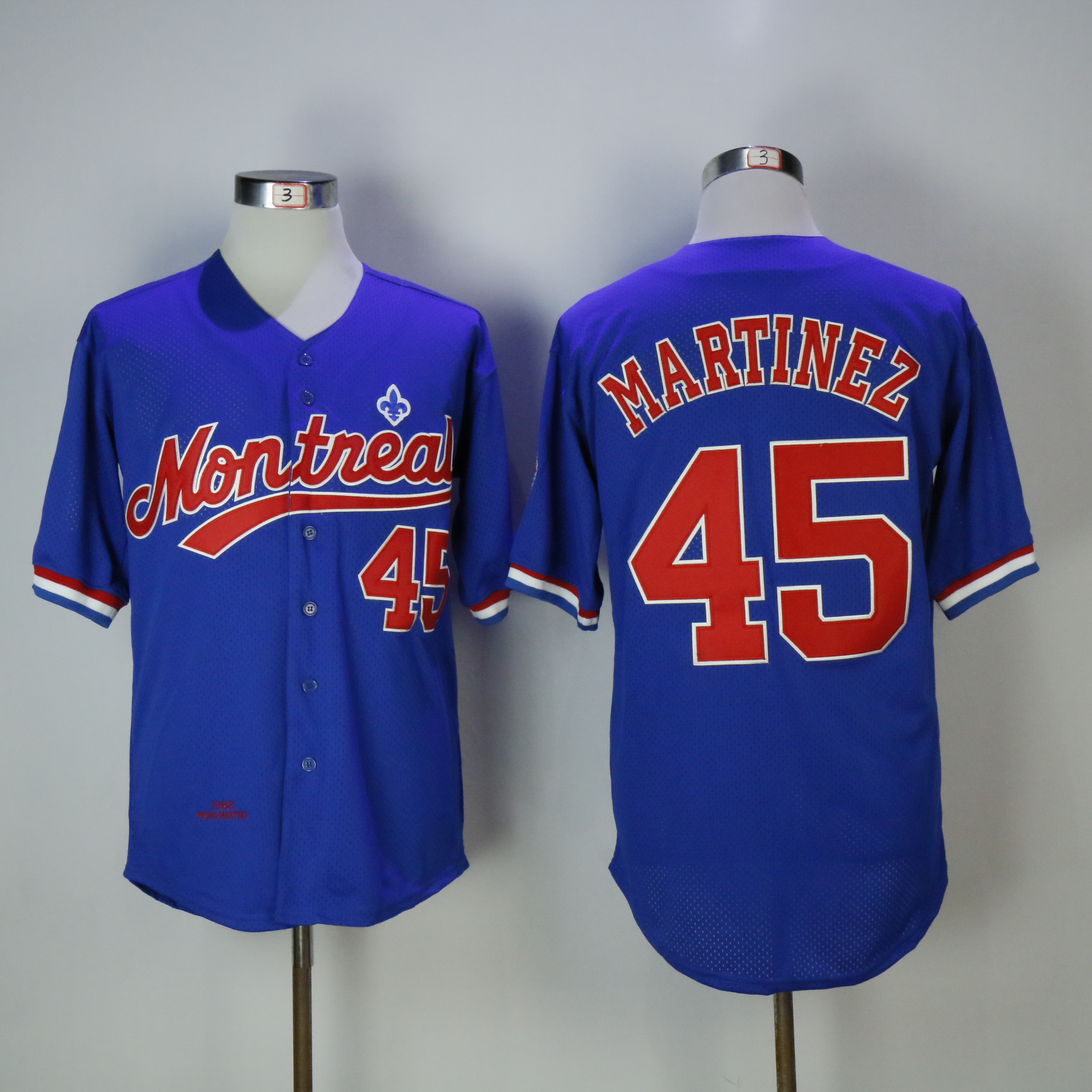 Men Montreal Expos 45 Martinez Blue Throwback MLB Jerseys
