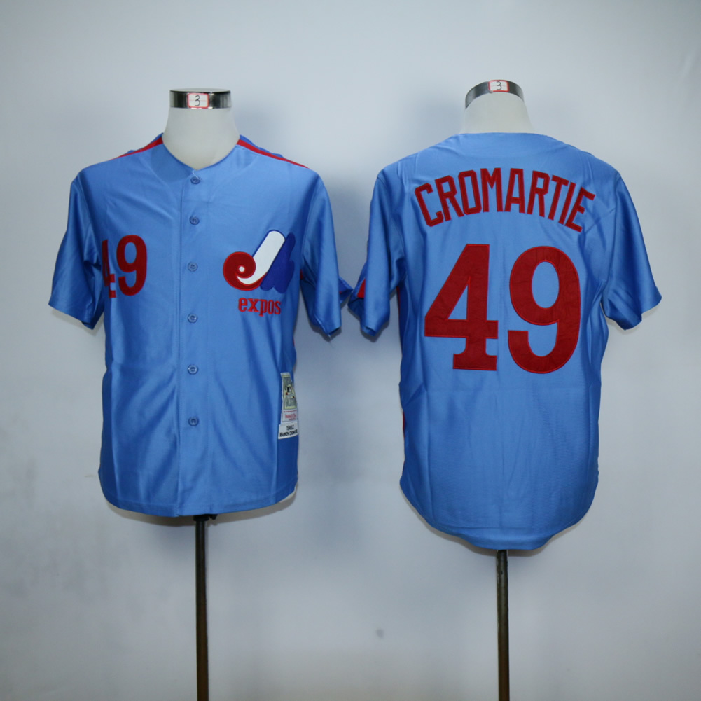 Men Montreal Expos 49 Cromartie Blue MLB Jerseys