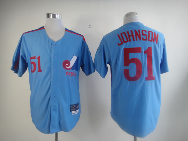Men Montreal Expos 51 Johnson Blue MLB Jerseys