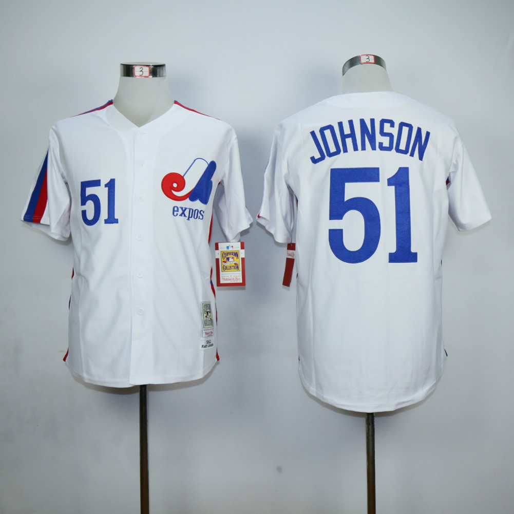 Men Montreal Expos 51 Johnson White MLB Jerseys