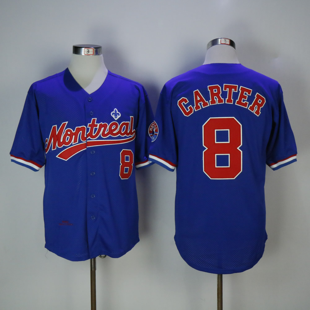 Men Montreal Expos 8 Carter Blue Throwback MLB Jerseys