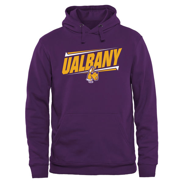Men NCAA Albany Great Danes Double Bar Pullover Hoodie Purple
