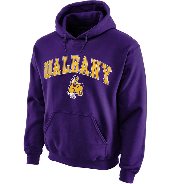 Men NCAA Albany Great Danes Midsize Arch Pullover Hoodie Purple