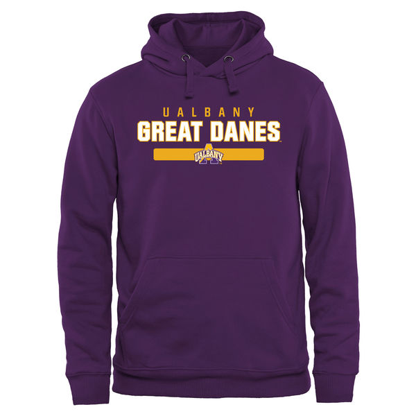 Men NCAA Albany Great Danes Team Strong Pullover Hoodie Purple