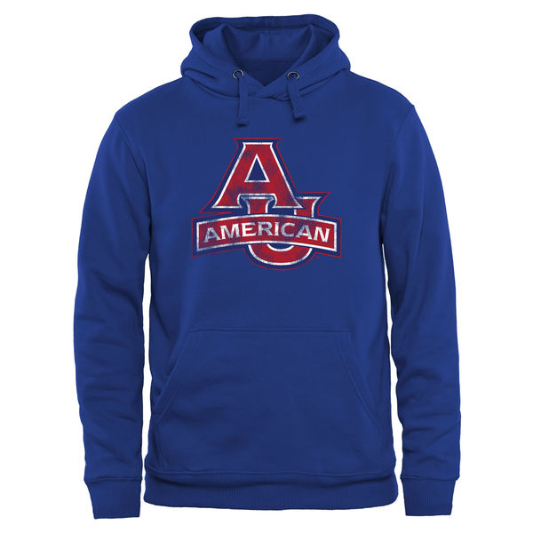 Men NCAA American Eagles Classic Primary Pullover Hoodie Royal Blue
