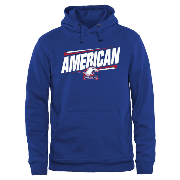 Men NCAA American Eagles Double Bar Pullover Hoodie Royal